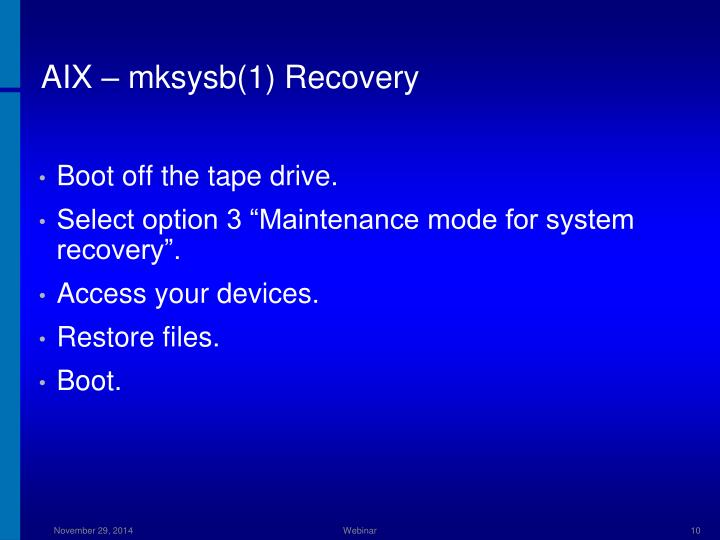 AIX – mksysb(1) Recovery