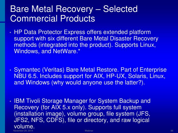 Bare Metal Recovery – Selected Commercial Products