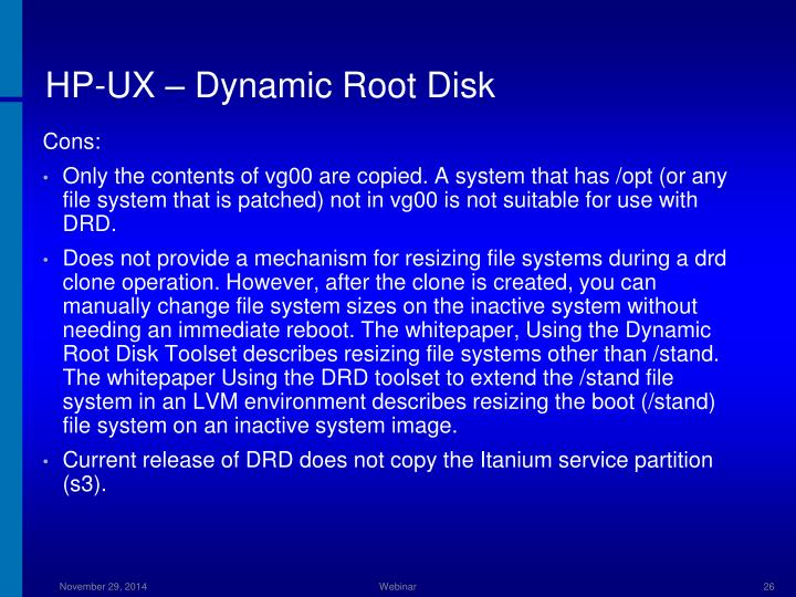 HP-UX – Dynamic Root Disk
