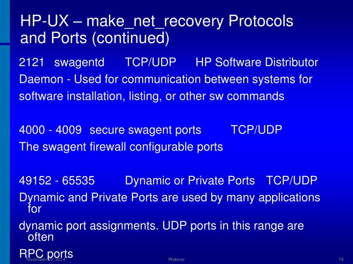 HP-UX – make_net_recovery Protocols and Ports (continued)