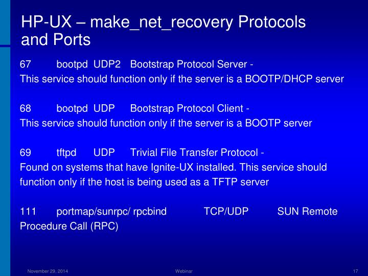 HP-UX – make_net_recovery Protocols and Ports