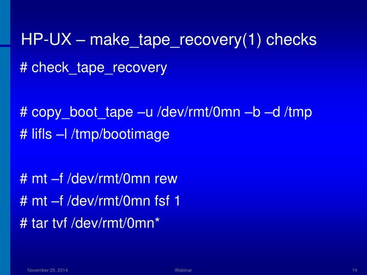 HP-UX – make_tape_recovery(1) checks