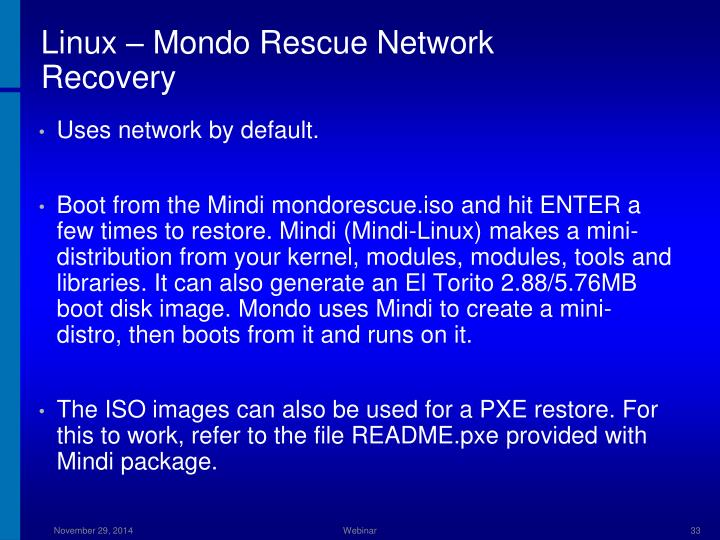 Linux – Mondo Rescue Network Recovery