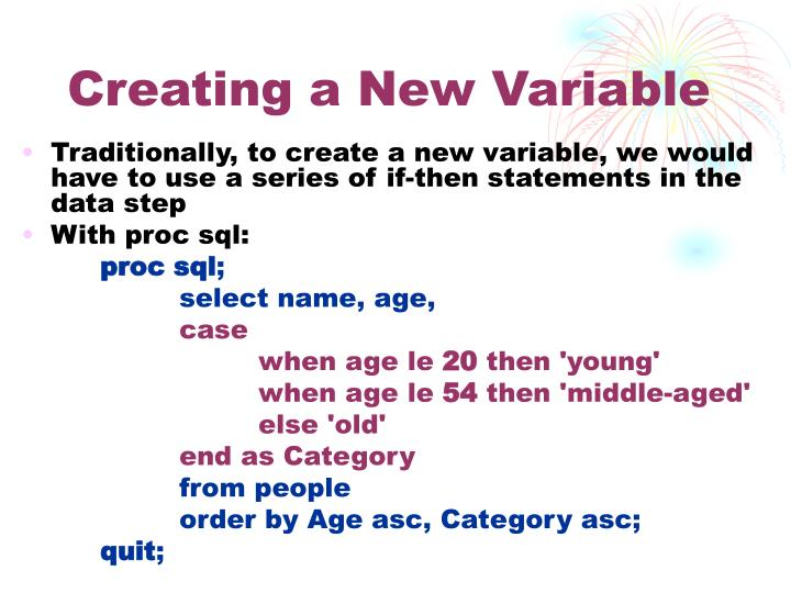 Creating a New Variable