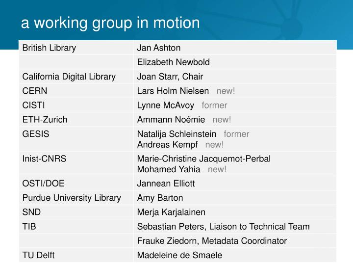 a working group in motion