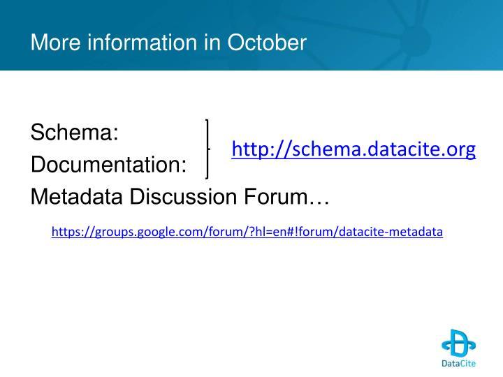 More information in October