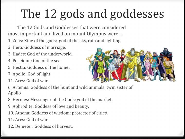 The 12 gods and goddesses