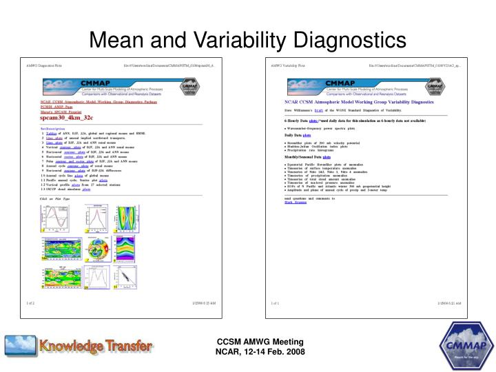 Mean and Variability Diagnostics