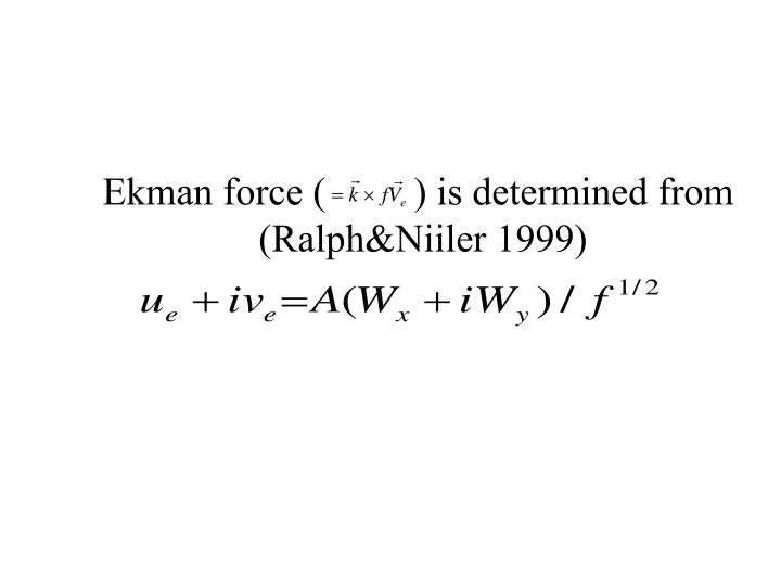 Ekman force (         ) is determined from