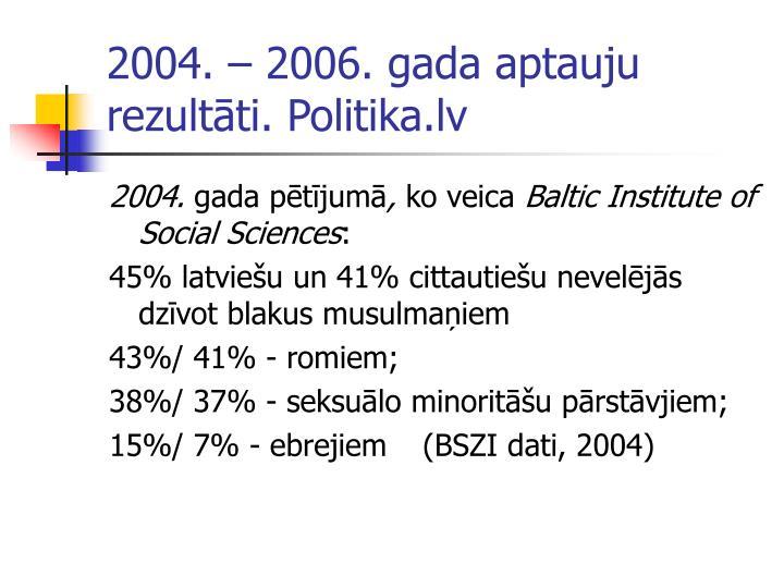 2004.  2006. gada aptauju rezultti. Politika.lv
