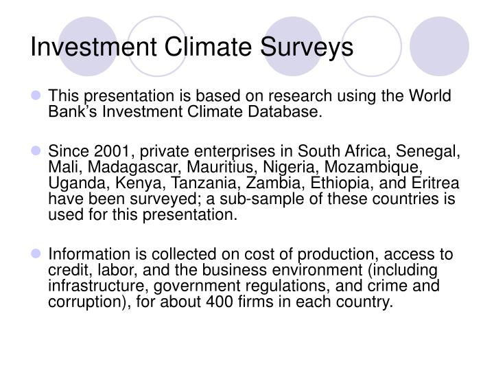 Investment Climate Surveys