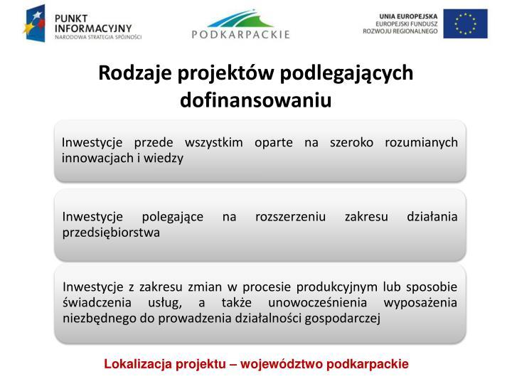 Rodzaje projektów podlegających dofinansowaniu