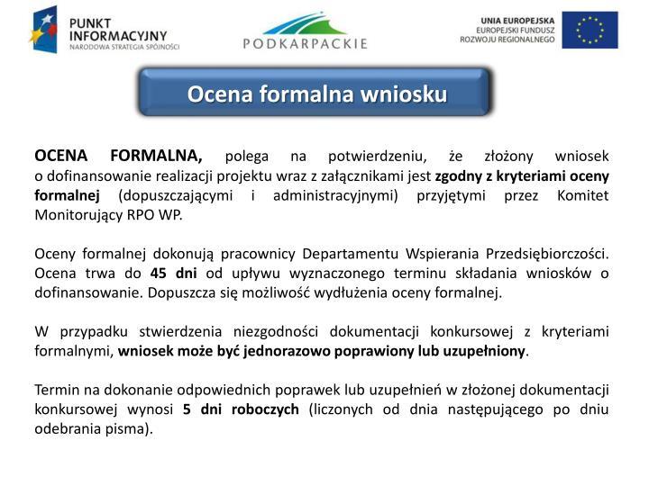 Ocena formalna wniosku