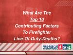 what are the top 10 contributing factors to firefighter line of duty deaths