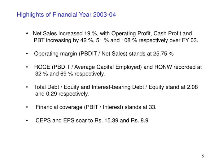 Highlights of Financial Year 2003-04