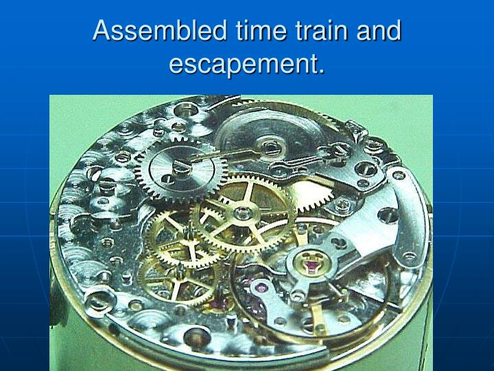 Assembled time train and escapement.