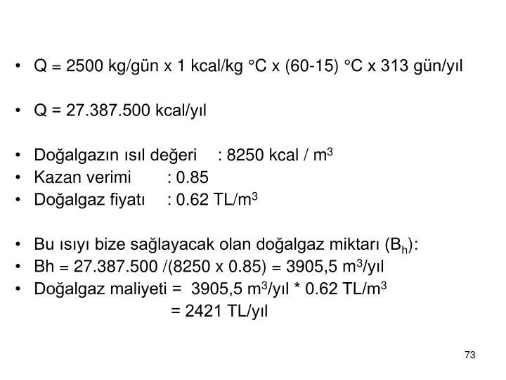 Q = 2500 kg/gün x 1 kcal/kg
