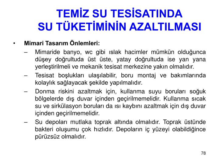 TEMİZ SU TESİSATINDA