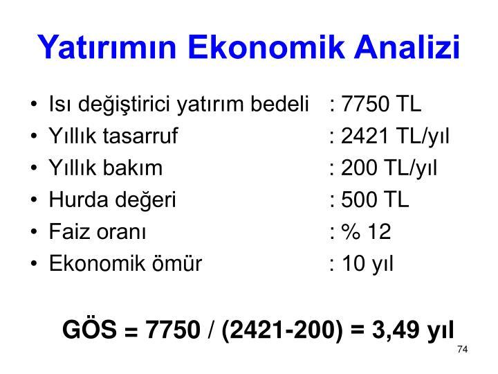 Yatırımın Ekonomik Analizi