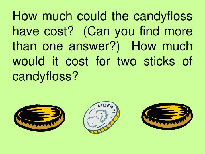 How much could the candyfloss have cost?  (Can you find more than one answer?)  How much would it cost for two sticks of candyfloss?
