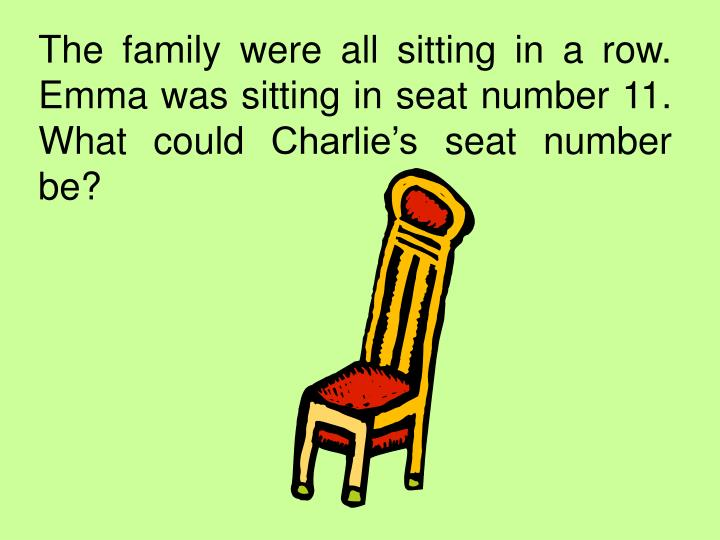 The family were all sitting in a row. Emma was sitting in seat number 11. What could Charlie's seat number be?