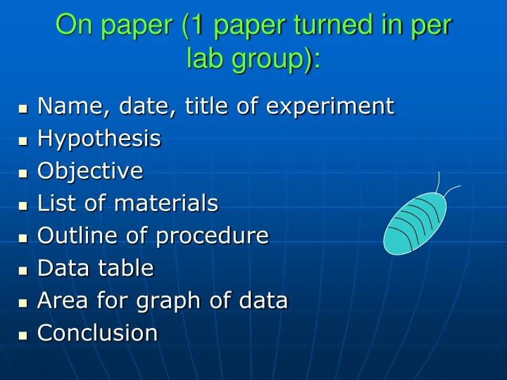 On paper (1 paper turned in per lab group):