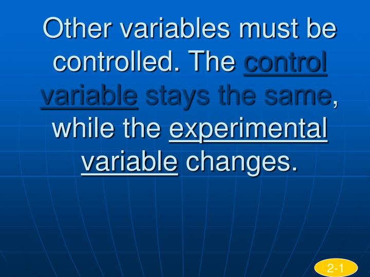 Other variables must be controlled. The