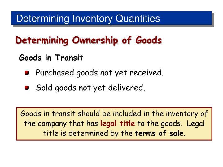 Determining Inventory Quantities