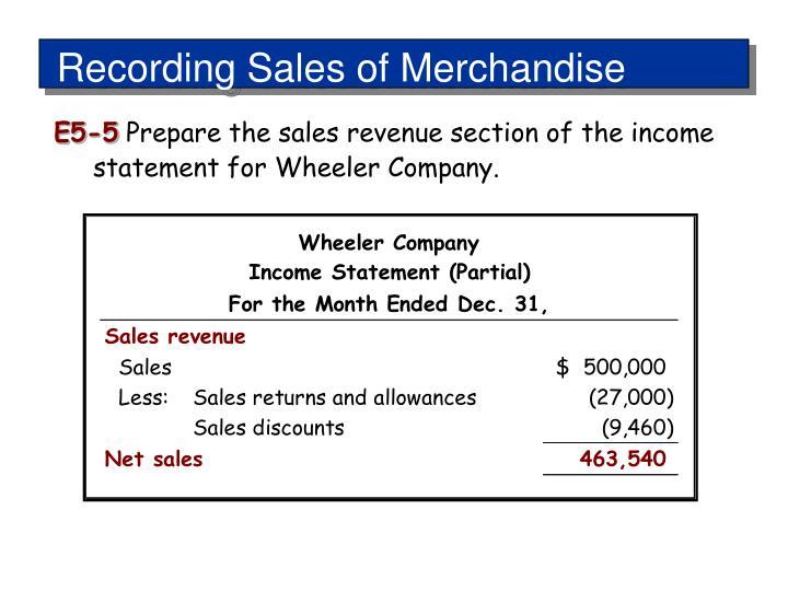 Recording Sales of Merchandise