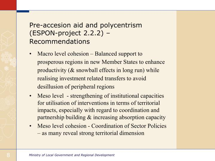 Pre-accesion aid and polycentrism (ESPON-project 2.2.2) – Recommendations