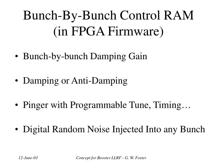 Bunch-By-Bunch Control RAM