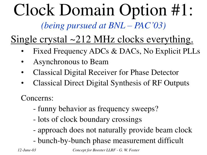 Clock Domain Option #1: