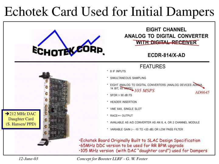 Echotek Card Used for Initial Dampers
