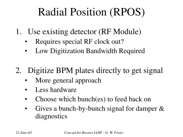 Radial Position (RPOS)