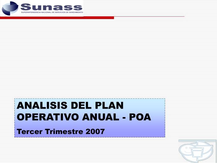 ANALISIS DEL PLAN OPERATIVO ANUAL - POA