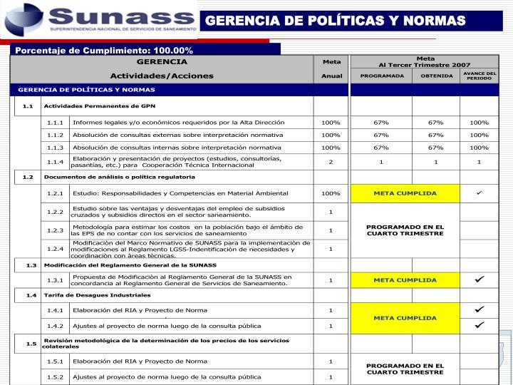 GERENCIA DE POLÍTICAS Y NORMAS