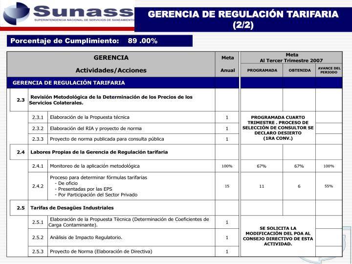 GERENCIA DE REGULACIÓN TARIFARIA (2/2)