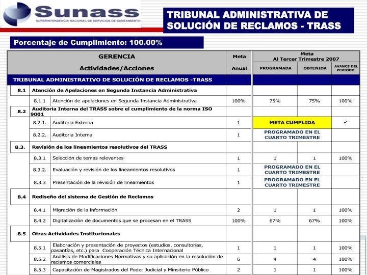 TRIBUNAL ADMINISTRATIVA DE SOLUCIÓN DE RECLAMOS - TRASS