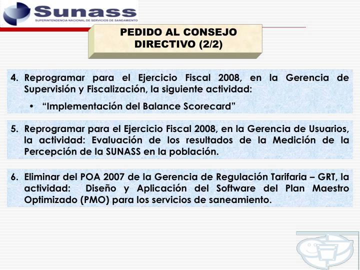 PEDIDO AL CONSEJO DIRECTIVO (2/2)