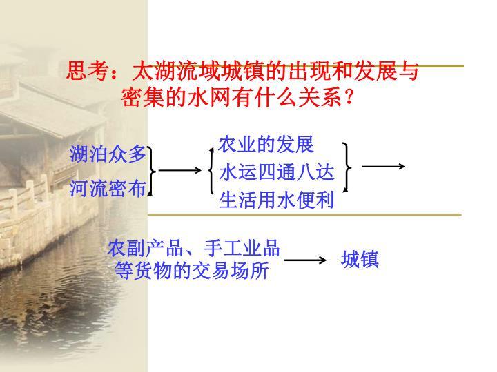 思考:太湖流域城镇的出现和发展与                                               密集的水网有什么关系?
