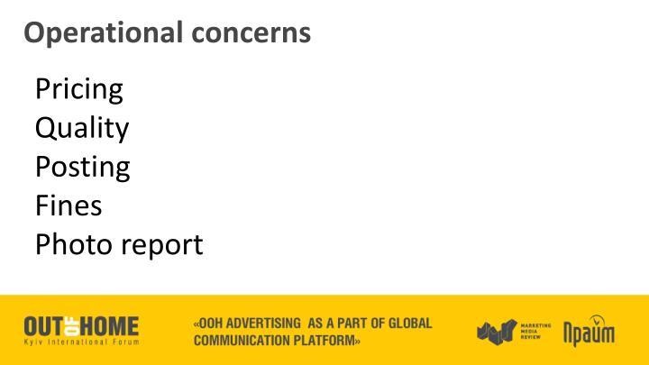 Operational concerns