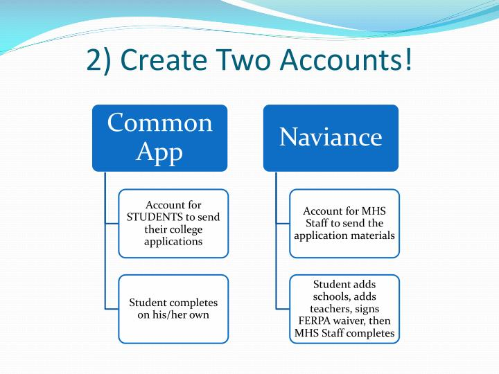 2) Create Two Accounts!