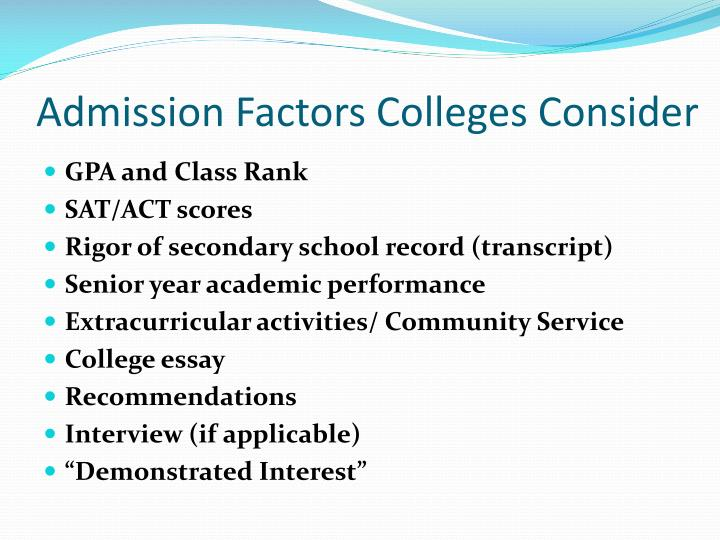 Admission Factors Colleges Consider