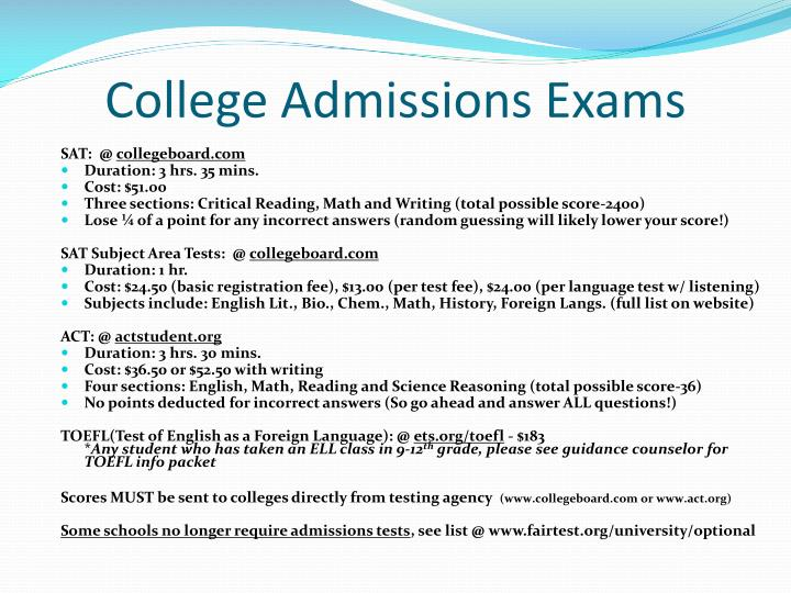 College Admissions Exams