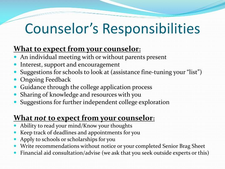 Counselor's Responsibilities