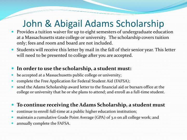 John & Abigail Adams Scholarship
