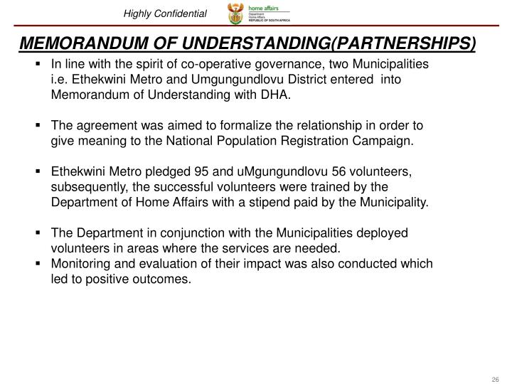 MEMORANDUM OF UNDERSTANDING(PARTNERSHIPS)