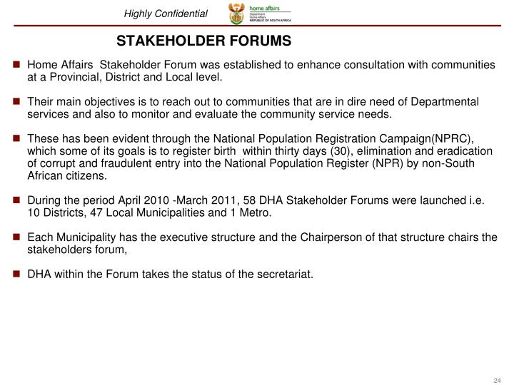 STAKEHOLDER FORUMS