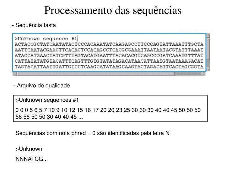 Processamento das sequências