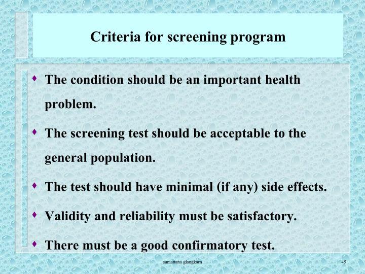 Criteria for screening program